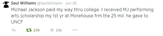 A tweet from one of the students whose education Michael sponsored via UNCF.