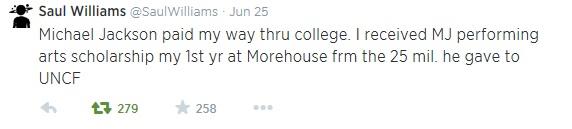 Твит одного из студентов, чье обучение Майкл Джексон через спонсировал UNCF.